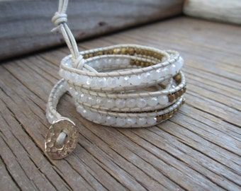SALE less than 1/2 price Gorgeous leather wrap, in white and tan, with white and gold crystals