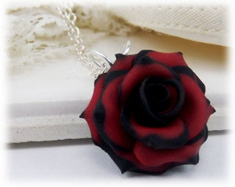Tipped Rose Necklace - More Colors, Tipped Rose Jewelry