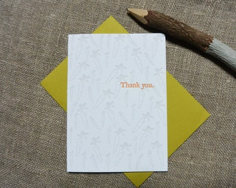 Letterpress Greeting Card - Thank You Card - Carrot Illustration Pattern - EGI-359