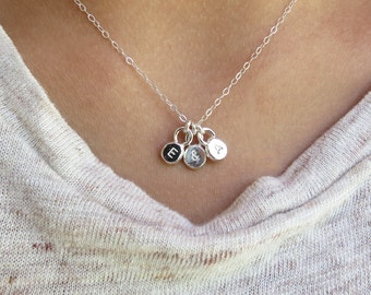 Tiny Initial Necklace, Sterling Silver Tiny Charm Necklace, Add Initials, Little Drop Necklace, Tiny Disc Jewelry, Minimal Layering Necklace