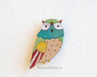 Owl bird wooden brooch, wood owl jewelry, weareble art pin