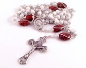 Divine Mercy of Jesus Medjugorge Rosary Beads In White Magnesite and Red Zebra Jasper by Unbreakable Rosaries