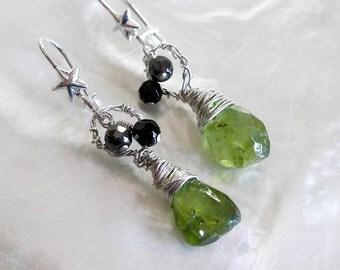 Gemstone Peridot Earrings- Boho Chic Jewelry For Women- August Birthstone- Beaded, Wire Wrapped