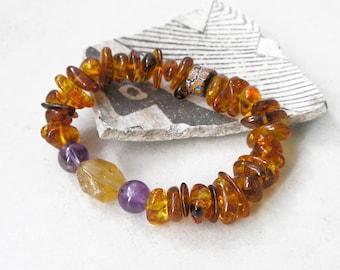 Baltic Amber Bracelet Healing Stones Amethyst Carnelian Stretch Bracelet