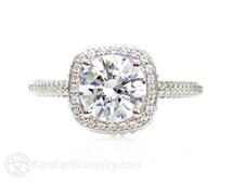2ct Moissanite Engagement Ring Diamond Halo Moissanite Ring Conflict Free Custom Engagement Ring