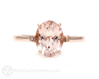 Rose Gold Morganite Ring Custom Oval Gemstone Ring 14K or 18K Gold Fleur de Lis Pink Gemstone Ring