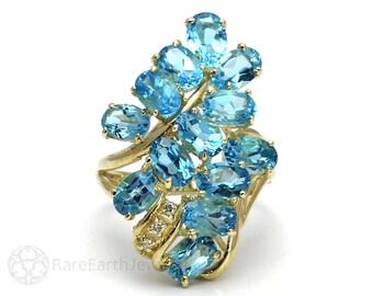 Waterfall Ring Choose Gemstone Blue Topaz Amethyst Morganite Garnet Peridot Tourmaline Citrine Statement Cocktail Ring Birthstone 14K Gold