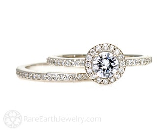 White Sapphire Engagement Ring and Wedding Band Set Diamond Halo 14K or 18K Gold or Platinum Bridal Jewelry