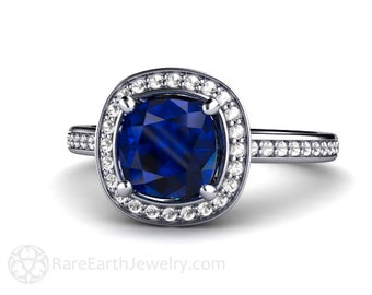Cushion Blue Sapphire Engagement Ring Platinum Diamond Halo Custom Sapphire Ring Bridal Jewelry