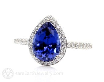 Blue Sapphire Engagement Ring Sapphire Ring Pear Halo Diamond 14K or 18K Gold or Platinum September Birthstone