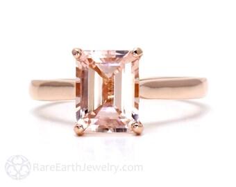 Morganite Ring 14K Rose Gold Emerald Cut Morganite Engagement Ring Solitaire Gemstone Ring 14K White Yellow Rose Gold