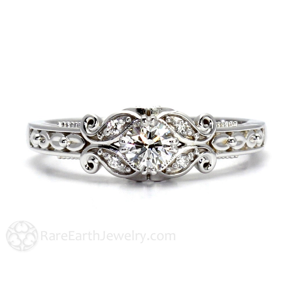 Diamond Engagement Ring Vintage Style Ring Filigree by RareEarth