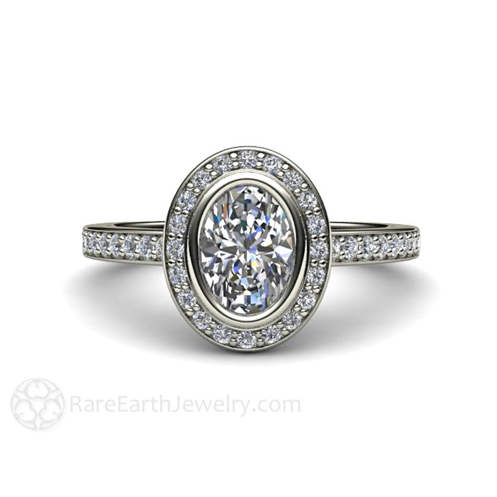 White Sapphire Engagement Ring Sapphire Ring Oval Bezel