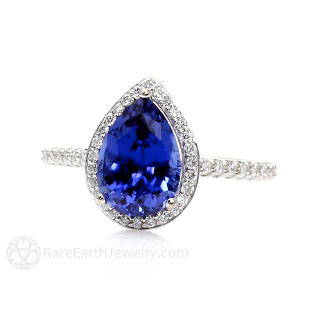 Blue sapphire engagement ring sapphire ring pear halo diamond for Sapphire wedding ring