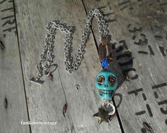 Copper Day of the Dead Denim blue sugar skull charm necklace Mexican Skull Roses Assemblage necklace vintage California womens jewelry