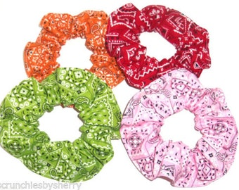 Hair Scrunchie Bandana Print Blue Red Gold Turquoise Pink Green Orange Fabric Scrunchies by Sherry Ties Ponytail Holders