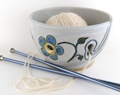 Ceramic Yarn Bowl - White with Blue Flowers- Handmade Wheel Thrown Pottery