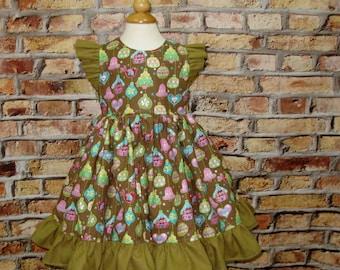 Girl Christmas Dress, Girl Green Dress, Flutter Sleeve Dress,Girl Ruffle Dress, Vintage Style Girl Dress,Little Girl Christmas Dress
