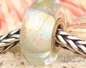 White Sandy Beach Sparkle Glaslight Artisan Lampwork Glass Murano Dichroic Sparkle Bead