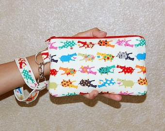 Kawaii Hippos - Wristlet Purse with Removable Strap and Interior Pocket