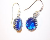 Valentines Day Sale - Sapphire Blue Czech Glass Gems with Antiqued Silver Crown Setting and Sterling Earwires