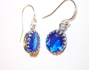Sapphire Blue Czech Glass Gems with Antiqued Sterling Silver Crown Setting and  Earwires
