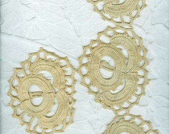 3 Small  Lengths Vintage Very Heavy Ecru Hand Crocheted Lace