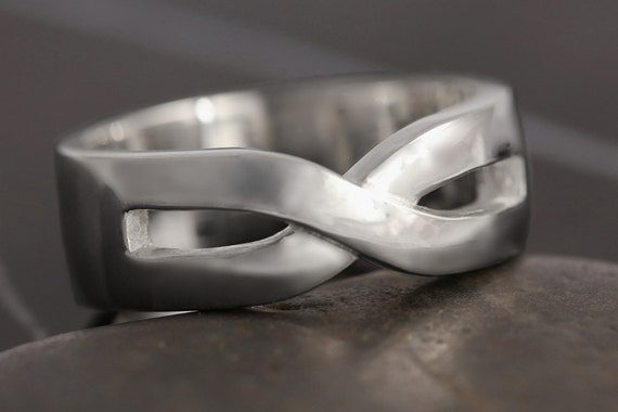 Men Infinity wedding band in Sterling silver