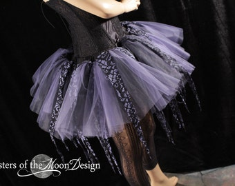 Amethyst pixie ragged tulle lace tutu adult skirt dance halloween rave run race gogo costume -You Choose Size -- Sisters of the Moon