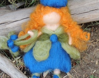Waldorf Blueberry fairy with her beetle - Bendy with Fairy Bed - needle felted wool angel Steiner Inspired by Rebecca Varon