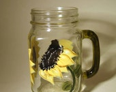 Hand Painted Sunflower Mason Jar Glass