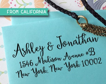 CUSTOM ADDRESS STAMP with proof from usa, Eco Friendly Self-Inking stamp, address stamp, custom stamp, calligraphy custom address stamp  214