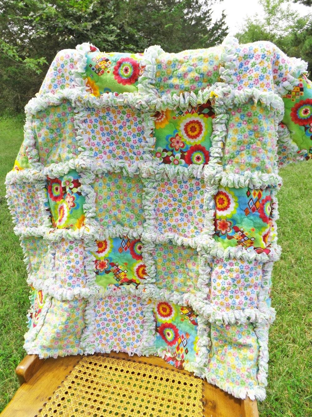 Crib Rag Quilt Flannel Baby Rag Quilt Flowers Green Blue