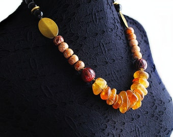 African Necklace, African Beaded Necklace, For Her, African Ocean Amber, Tribal Necklace, Serengeti Sunset African Beaded Necklace V2