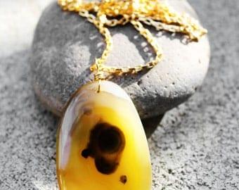 Pendant Necklace, Agate Stone Pendant, Natural Stone Necklace, Healing Stone, Zen, Yellow Stone, Earth Vibes Agate Stone Pendant Necklace