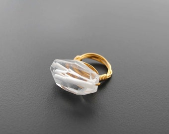 Natural Stone Ring, Wire Wrapped Ring, Quartz Crystal, Chakra Stone, Statement Ring, Cocktail Ring, Size 7, Glacier Clear Quartz Wire Ring
