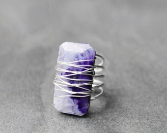 Natural Stone Ring, Wire Wrapped Ring, Agate Stone, Statement Ring, Cocktail Ring, Size 7, Purple Sunset Agate Stone Wire Ring V2