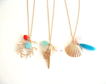 Beach inspired necklaces Long boho seaside jewelry Under 60 by Vitrine Designs Turquoise Druzy Pearl