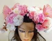 Horned Pink Passion Floral Headpiece