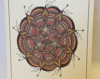 Hand Drawn Earthy Mandala Greeting Cards - Note Cards - Blank - Choose Quantity - Coose Style - With Envelopes