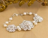 """Pearl & Crystal Wedding Bracelet / Couture Lace Bridal Cuff / Ivory Freshwater Pearls / Sterling Silver / """"Cordelia"""""""