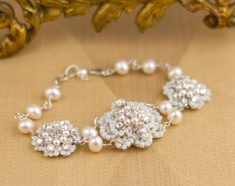 "Pearl & Crystal Wedding Bracelet / Couture Lace Bridal Cuff / Ivory Freshwater Pearls / Sterling Silver / ""Cordelia"""