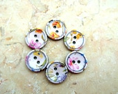 6 Plastic buttons colorful flower on white new buttons 16mm
