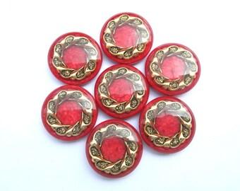 5 Vintage buttons, plastic, gold flower ornament, 28mm