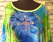 Plus Size Embroidered Tie Dye Tunic