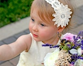 Flower Girl Headband, Vintage Lace Creamy Ivory