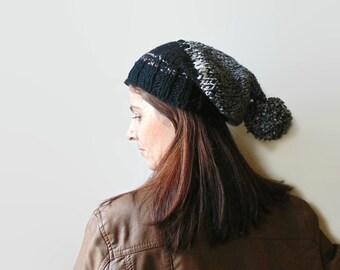 Pom Pom Beanie, Black Gray Wool, Chunky Knit Hat, Bonnet Hat, Bobble Hat, Beanie Hat, Womens Beanies, Hand Knit Beanie, Stocking Hat