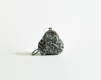 Gray Marl Wool Hand Knit Coin Purse Keychain, Small Pouch, Change Purse, Money Holder, Ready to Ship, Gifts for Her Under 20, Bag Fashion