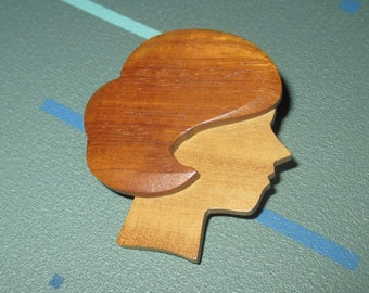 Vintage MOD 50s Carved Two Tone Wood Silhouette Lady Pin