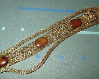 Last Call......Vintage FAB Triple Strand Gold Tone Metal Mesh and Topaz Cabochon Glass Stone Bracelet